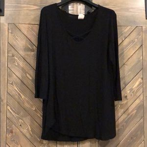 Black Crossed Neckline Shirt